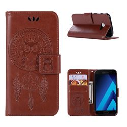 Intricate Embossing Owl Campanula Leather Wallet Case for Samsung Galaxy A5 2017 A520 - Brown