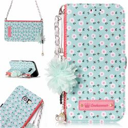 Daisy Endeavour Florid Pearl Flower Pendant Metal Strap PU Leather Wallet Case for Samsung Galaxy A5 2017 A520