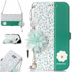 Magnolia Endeavour Florid Pearl Flower Pendant Metal Strap PU Leather Wallet Case for Samsung Galaxy A5 2017 A520