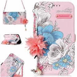 Pink Blue Rose Endeavour Florid Pearl Flower Pendant Metal Strap PU Leather Wallet Case for Samsung Galaxy A5 2017 A520