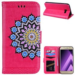 Datura Flowers Flash Powder Leather Wallet Holster Case for Samsung Galaxy A5 2017 A520 - Rose