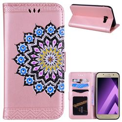 Datura Flowers Flash Powder Leather Wallet Holster Case for Samsung Galaxy A5 2017 A520 - Pink