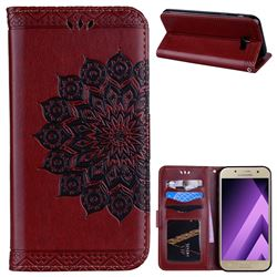 Datura Flowers Flash Powder Leather Wallet Holster Case for Samsung Galaxy A5 2017 A520 - Brown