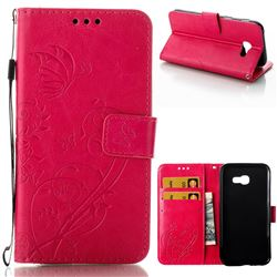 Embossing Butterfly Flower Leather Wallet Case for Samsung Galaxy A5 2017 A520 - Rose