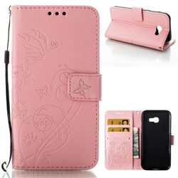 Embossing Butterfly Flower Leather Wallet Case for Samsung Galaxy A5 2017 A520 - Pink