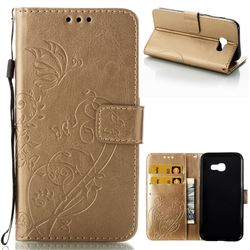 Embossing Butterfly Flower Leather Wallet Case for Samsung Galaxy A5 2017 A520 - Champagne