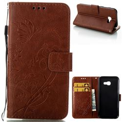 Embossing Butterfly Flower Leather Wallet Case for Samsung Galaxy A5 2017 A520 - Brown