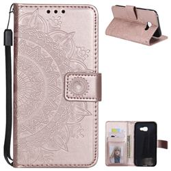 Intricate Embossing Datura Leather Wallet Case for Samsung Galaxy A5 2017 A520 - Rose Gold
