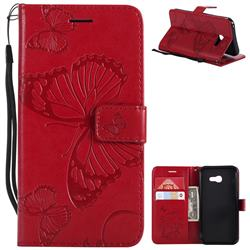Embossing 3D Butterfly Leather Wallet Case for Samsung Galaxy A5 2017 A520 - Red