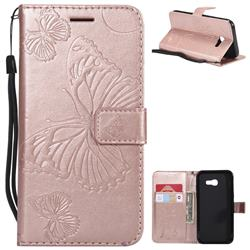Embossing 3D Butterfly Leather Wallet Case for Samsung Galaxy A5 2017 A520 - Rose Gold