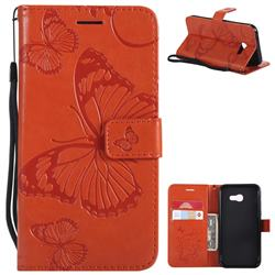 Embossing 3D Butterfly Leather Wallet Case for Samsung Galaxy A5 2017 A520 - Orange