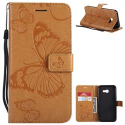 Embossing 3D Butterfly Leather Wallet Case for Samsung Galaxy A5 2017 A520 - Yellow