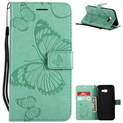 Embossing 3D Butterfly Leather Wallet Case for Samsung Galaxy A5 2017 A520 - Green