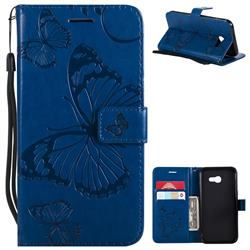 Embossing 3D Butterfly Leather Wallet Case for Samsung Galaxy A5 2017 A520 - Blue