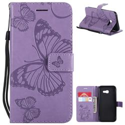 Embossing 3D Butterfly Leather Wallet Case for Samsung Galaxy A5 2017 A520 - Purple