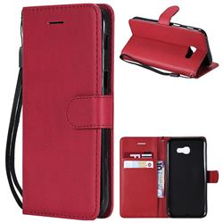 Retro Greek Classic Smooth PU Leather Wallet Phone Case for Samsung Galaxy A5 2017 A520 - Red