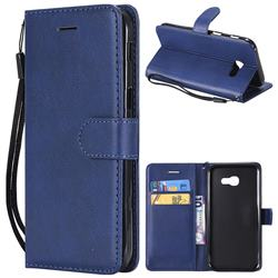 Retro Greek Classic Smooth PU Leather Wallet Phone Case for Samsung Galaxy A5 2017 A520 - Blue