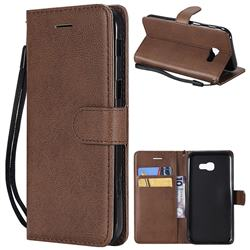 Retro Greek Classic Smooth PU Leather Wallet Phone Case for Samsung Galaxy A5 2017 A520 - Brown
