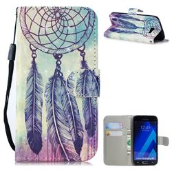 Feather Wind Chimes 3D Painted Leather Wallet Phone Case for Samsung Galaxy A5 2017 A520