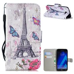 Paris Tower 3D Painted Leather Wallet Phone Case for Samsung Galaxy A5 2017 A520