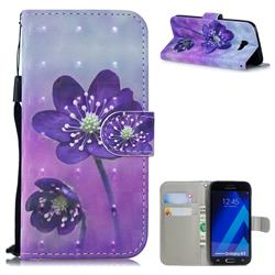 Purple Flower 3D Painted Leather Wallet Phone Case for Samsung Galaxy A5 2017 A520