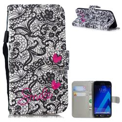 Lace Flower 3D Painted Leather Wallet Phone Case for Samsung Galaxy A5 2017 A520