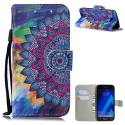 Oil Painting Mandala 3D Painted Leather Wallet Phone Case for Samsung Galaxy A5 2017 A520