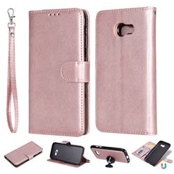 Retro Greek Detachable Magnetic PU Leather Wallet Phone Case for Samsung Galaxy A5 2017 A520 - Rose Gold
