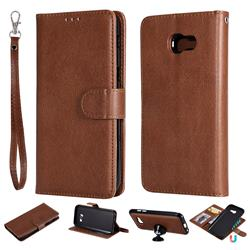Retro Greek Detachable Magnetic PU Leather Wallet Phone Case for Samsung Galaxy A5 2017 A520 - Brown