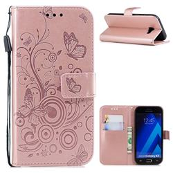 Intricate Embossing Butterfly Circle Leather Wallet Case for Samsung Galaxy A5 2017 A520 - Rose Gold
