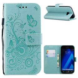 Intricate Embossing Butterfly Circle Leather Wallet Case for Samsung Galaxy A5 2017 A520 - Cyan
