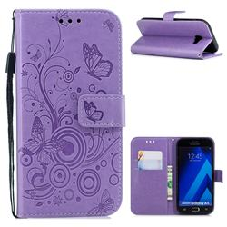 Intricate Embossing Butterfly Circle Leather Wallet Case for Samsung Galaxy A5 2017 A520 - Purple
