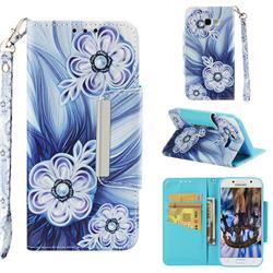 Button Flower Big Metal Buckle PU Leather Wallet Phone Case for Samsung Galaxy A5 2017 A520