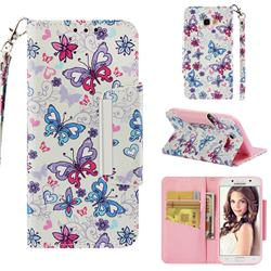 Colored Butterfly Big Metal Buckle PU Leather Wallet Phone Case for Samsung Galaxy A5 2017 A520