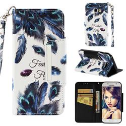 Peacock Feather Big Metal Buckle PU Leather Wallet Phone Case for Samsung Galaxy A5 2017 A520