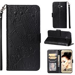 Embossing Fireworks Elephant Leather Wallet Case for Samsung Galaxy A5 2017 A520 - Black