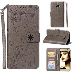 Embossing Fireworks Elephant Leather Wallet Case for Samsung Galaxy A5 2017 A520 - Gray