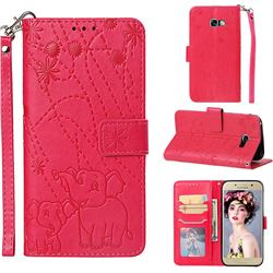 Embossing Fireworks Elephant Leather Wallet Case for Samsung Galaxy A5 2017 A520 - Red