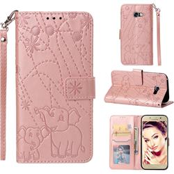 Embossing Fireworks Elephant Leather Wallet Case for Samsung Galaxy A5 2017 A520 - Rose Gold