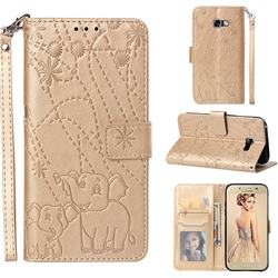 Embossing Fireworks Elephant Leather Wallet Case for Samsung Galaxy A5 2017 A520 - Golden