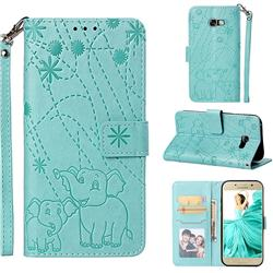 Embossing Fireworks Elephant Leather Wallet Case for Samsung Galaxy A5 2017 A520 - Green