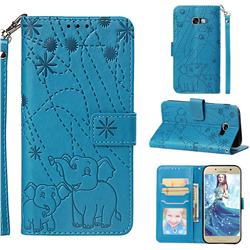 Embossing Fireworks Elephant Leather Wallet Case for Samsung Galaxy A5 2017 A520 - Blue