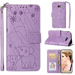 Embossing Fireworks Elephant Leather Wallet Case for Samsung Galaxy A5 2017 A520 - Purple