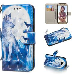 Ice Wolf 3D Painted Leather Wallet Phone Case for Samsung Galaxy A5 2017 A520