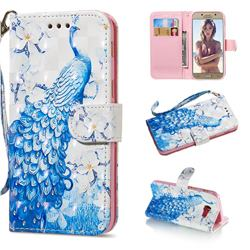 Blue Peacock 3D Painted Leather Wallet Phone Case for Samsung Galaxy A5 2017 A520