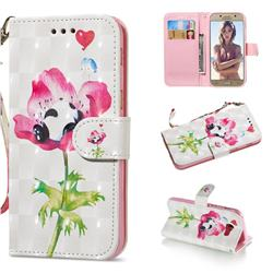 Flower Panda 3D Painted Leather Wallet Phone Case for Samsung Galaxy A5 2017 A520