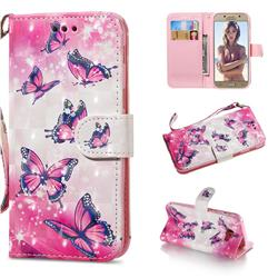 Pink Butterfly 3D Painted Leather Wallet Phone Case for Samsung Galaxy A5 2017 A520