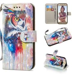 Watercolor Owl 3D Painted Leather Wallet Phone Case for Samsung Galaxy A5 2017 A520
