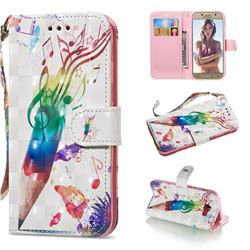 Music Pen 3D Painted Leather Wallet Phone Case for Samsung Galaxy A5 2017 A520
