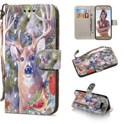 Elk Deer 3D Painted Leather Wallet Phone Case for Samsung Galaxy A5 2017 A520